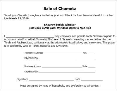Contract for sale of Chometz