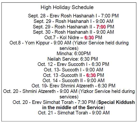 High Holidays schedule