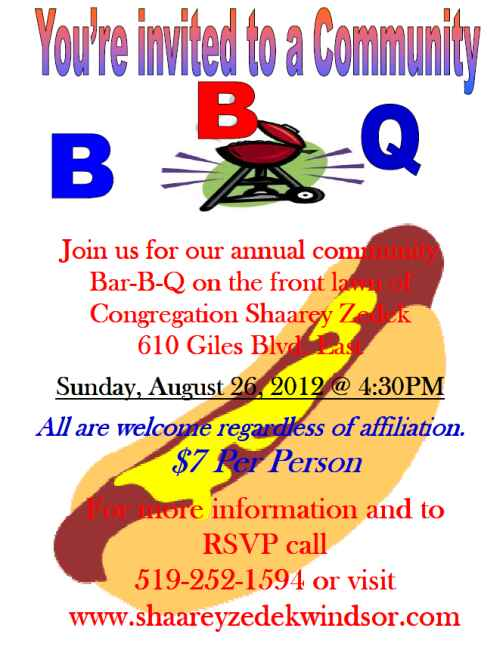 Invitation to fourth annual Shaarey Zedek Community Bar-b-q