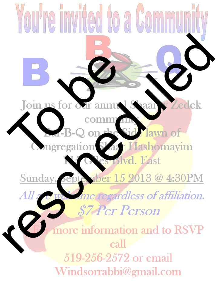 5th annual Shaarey Zedek Community Bar-B-Q Postponed