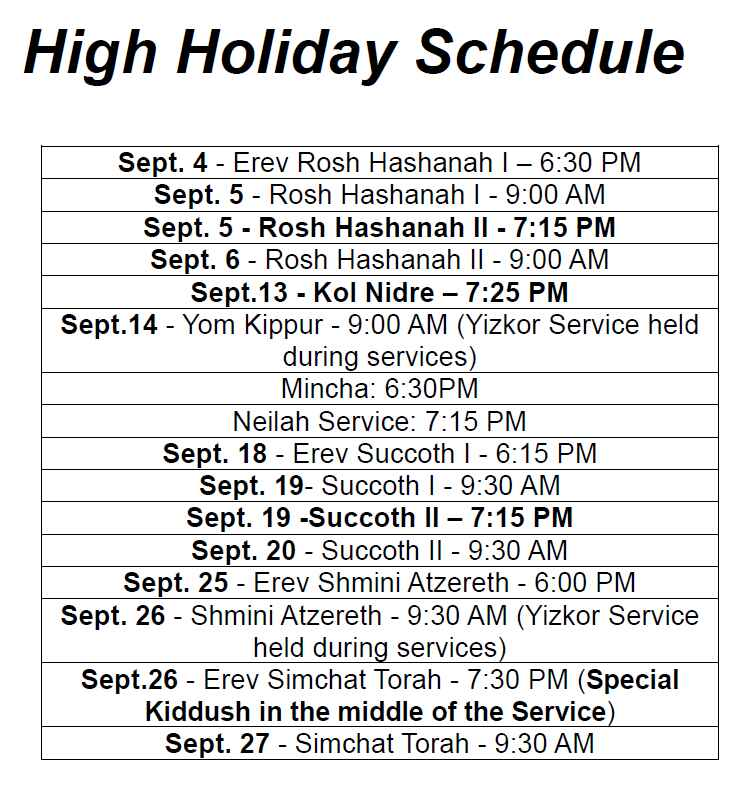 High Holidays Schedule - 2013